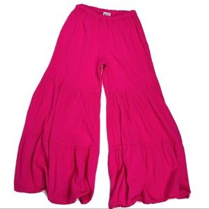 Vintage Boho Cropped Wide Leg Festival Pants